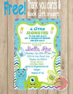 Monsters inc inspired baby shower invitation shower invitations monsters inc baby shower invitation etsy filmwisefo Image collections