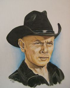 Indio Black by on deviantART (Yul Brynner) Celebrity Caricatures, Celebrity Drawings, Celebrity Portraits, Classic Movie Stars, Classic Movies, Bigfoot Photos, Gravure Illustration, Yul Brynner, Old Hollywood Movies