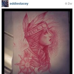 #Native #American #Woman #Tattoo - (as seen on #Instagram: @eddiestacey)