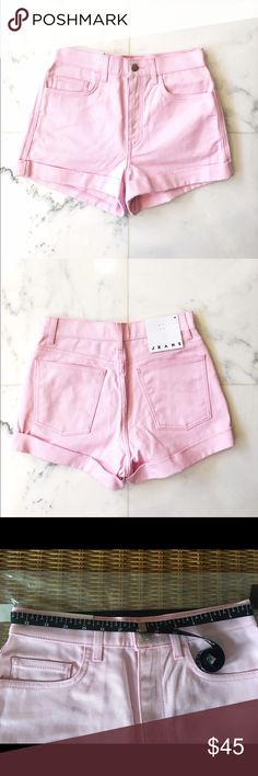 "•new• American Apparel High-Waist Jean Cuff Short 100% cotton, 14 oz denim. A heavyweight, non-stretch jean that hit just above the belly button in ""Candy Pink"". Metal zipper and button closure. 5-pocket style. Classic belt loops. Cuffed legs. *IMPORTANT* tag is labeled size 26, but this is a manufacturing error. Measurements show that this is a true size 28. American Apparel Shorts Jean Shorts"