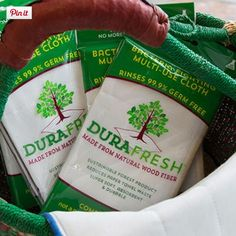 Our multi-purpose cloth does not have to be washed to be cleaned. But, if you do run it through the wash, we recommend air drying or in the dryer on low or no heat to reduce shrinking and extend the cloth's life. Learn more: http://durafreshcloth.com/faq/