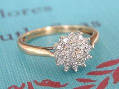 Diamond Cluster Engagement Ring, Vintage Flower Wedding Band, 9k Yellow & White Gold Promise Ring, Art Deco Proposal Ring, Vintage Jewelry on Etsy, $260.00