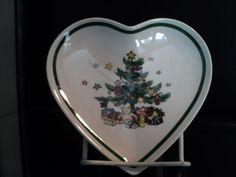 Nikko christmas time tree heart shaped candy dish teddy bear spode go