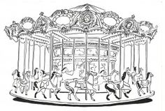 This is a drawing of an old carousel in black and white.