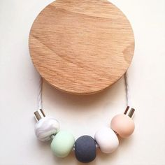 Mint Peach and Marble Polymer Clay Necklace by DaxleyDesigns