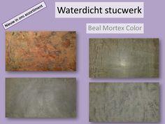 Luckerhof Stukadoors introduceert Mortex Color® van Beal, een materiaal dat van zichzelf al vanaf 1 mm laagdikte waterdicht is. Dit product hoeft dus verder niet meer beschermd te worden tegen water. De wanden worden hooguit beschermd tegen vuilaanslag, shampoo- en zeepresten etc. door middel van een waslaag, zeeplaag of een olie. De vloeren kunnen worden beschermd met o.a. een olie of lak tegen vuil.