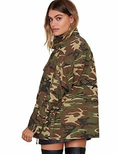 Women's Military Camouflage Camo Jacket Denim Coats Cotton Parka (XXL, Green) - Brought to you by Avarsha.com