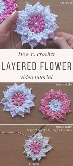 Crochet Flower Patterns Layer Flower Crochet Pattern Tutorial - Flower blankets are my favorite crochet blankets pattern and are always fun to make. The one I'm showing you today looks beautiful and is very easy to make. Crochet Puff Flower, Crochet Flower Tutorial, Crochet Flower Patterns, Crochet Blanket Patterns, Love Crochet, Crochet Gifts, Crochet Motif, Beautiful Crochet, Crochet Designs