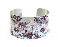 Cuff bracelet, floral bird jewellery, colourful bangle, bird lovers gift  C132 £19.50