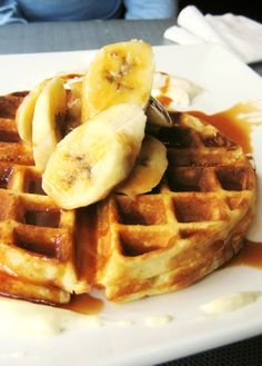 Low FODMAP Recipe and Gluten Free Recipe - Waffles with banana & salted caramel sauce - http://www.ibs-health.com/waffles_banana_salted_caramel_sauce.html