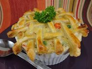 Chicken Pot Pies with a Puff Pastry Crust