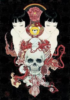 The paintings of Takato Yamamoto have a vicious beauty; their stunning detail is akin to the Ukiyo-e woodblock prints of the century that initially influenced his work, but Yamamoto Art And Illustration, Japanese Illustration, Fantasy Kunst, Fantasy Art, Art Kawaii, Ero Guro, Japanese Horror, Mystique, Japanese Artists
