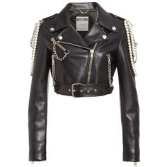 Women's Moschino Chain & Faux Pearl Embellished Faux Leather Jacket (€1.955) ❤ liked on Polyvore featuring outerwear, jackets, biker jacket, motorcycle jacket, cropped motorcycle jacket, drape jacket and cropped biker jacket