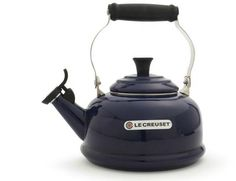 http://www.surlatable.com/product/PRO-16215/Le-Creuset-Teakettles    Le Creuset's pretty and practical kettles quickly boil water for tea, French-press coffee, oatmeal, and more. At home in both traditional and contemporary kitchens, this classic design combines the elegant styling of an antique with elements of modern technology.