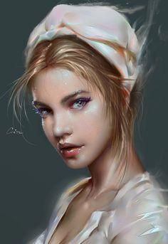 Female portrait digital painting having a model look. #Digitalpainting #Portrait #Inspiration