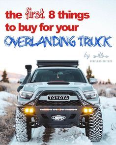 Figuring out what gear to buy and which mods to do first for your overlanding truck can be a pain! We walk through everything you need to do to get your adventure mobile ready for the road ahead! New Pickup Trucks, 4x4 Trucks, Chevy Trucks, Fire Trucks, Toyota Trucks, Safety And First Aid, Overland Truck, Truck Quotes, All Terrain Tyres
