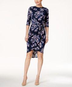 Ivanka Trump Jersey Floral-Print Faux-Wrap Dress