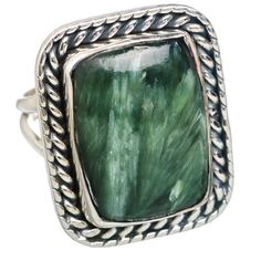 Large Seraphinite 925 Sterling Silver Ring Size 8.25 RING767947