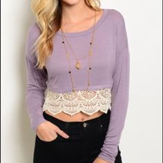 Beautiful lavender crop top with crochet detail Beautiful lavender top NWOT Tops Crop Tops