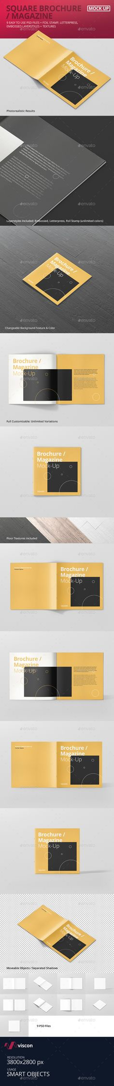 Square Brochure / Magazine PSD Mock-Up Template • Only available here ➝ http://graphicriver.net/item/square-brochure-magazine-mockup/16567594?ref=pxcr