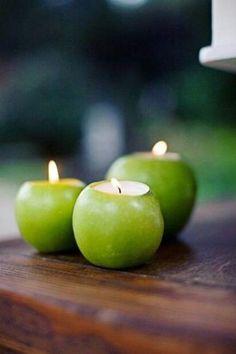 Apple tea lights - party decoration I like this idea but with red apples! Party Decoration, Wedding Decorations, Table Decorations, Autumn Decorations, Decor Wedding, Holiday Decor, Apple Tea, Ideas Geniales, Rosh Hashanah