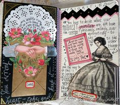 Original pinner sez: First things first.  A new spread from one of my art journals.