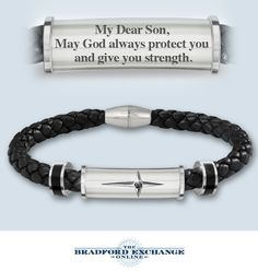 Give him a meaningful expression of faith and love with this religious cross bracelet for son.