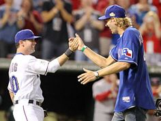 My two favorite people. Dirk Nowitzki and Michael Young. Go Rangers!