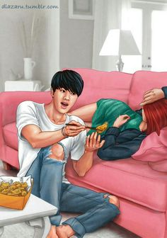 Finally finished the second BTS fanart series! Here's BTS with girlfriend aaaannnd… um… a couch. Hope you all enjoy it as much as the . J-hope, Bangtan Boys BTS Cute Couple Drawings, Cute Couple Cartoon, Cute Love Cartoons, Cute Couple Art, Cartoon Pics, Anime Couples Manga, Cute Anime Couples, Wattpad, Bts Girlfriends
