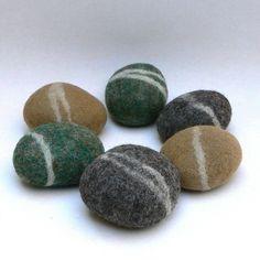 Felted Rocks pebbble stones wool felt home decor by Fairyfolk, $20.00