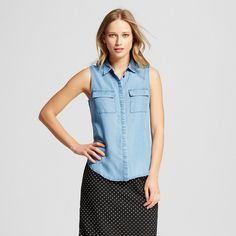 Women's Sleeveless Button Up Chambray Xxl - Who What Wear