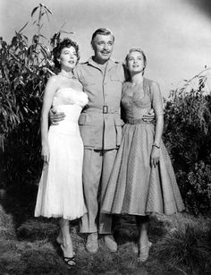 """princessgracekelly1956: """" Ava Gardner, Clark Gable and Grace Kelly in a promotional photo for Mogambo (1953) """""""