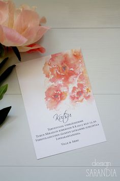 Hääkutsu Peony, vesivärit Wedding invitation with watercolour…