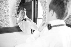 A Romantic Southern Wedding: Mary + Dan info@warrenwoodmanor.com Groom getting ready for wedding at Warrenwood Manor, a central Kentucky wedding venue