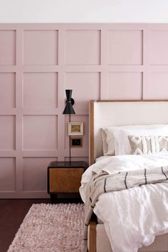Board and Batten Bedroom Makeover with Arhaus (+Giveaway!) (CLOSED) - A Beautiful Mess Board and Batten Bedroom Makeover with Arhaus (+Giveaway!) – A Beautiful Mess Dusty Pink Bedroom, Pink Bedroom Walls, Rose Bedroom, Pink Bedrooms, Accent Wall Bedroom, Home Decor Bedroom, Bedroom Ideas, Blush Bedroom, Bedroom Interiors