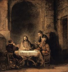 Christ with the disciples at  Emmaus. Rembrandt van Rijn.