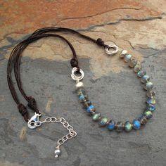 Labradorite, Linen, Thai Silver Necklace