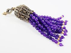 Large Long Royal Purple Jade Stone Beaded Tassel by LylaSupplies