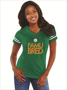 3b3df5200 Ladies HBCU Florida A&M University Rattlerette Orange and Green Tshirt FAMU  Rattlers Football Jersey Gift for her Grad Gift Famu Bred
