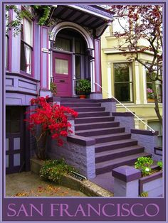 ♡ How lovely to live in a purple house. Building Front, Building A House, Purple Dining Chairs, Purple Door, When One Door Closes, Vintage Doors, Grand Entrance, California Homes, Closed Doors