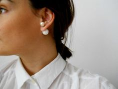 Double Sided Earrings-Fake Gauges, Double Bead Earrings, White Earrings, Contemporary Jewelry,