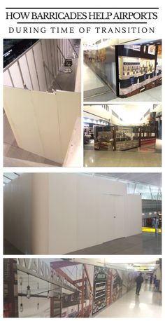 Barricades are temporary walls used to conceal behind the scenes construction work, preventing disruption to business. Airports have so much hustle and bustle 24/7 that sometimes construction can get in the way.