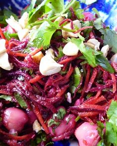 Beetroot, carrot and chickpea salad