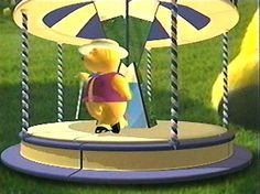 teletubbies episode with a tapdancing bear on a carousel