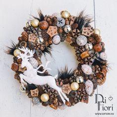 Christmas wreath, door hanger / Adventi kopogtató, Rusztikus kopogtató szarvassal - Karácsony 2015 - Di Fiori
