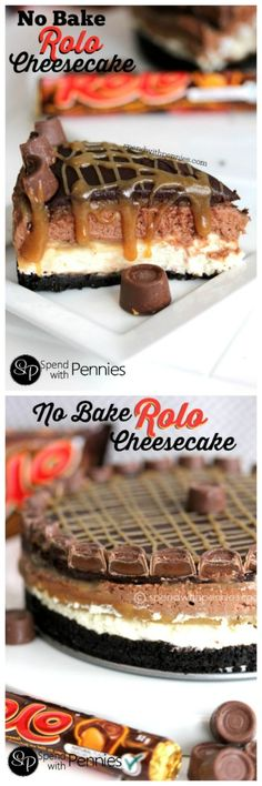 Amazing No Bake Rolo Cheesecake!  Layers of no bake chocolate cheesecake topped with an amazing caramel sauce!