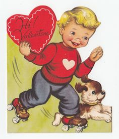 UNUSED Vintage Greeting Card Valentine's Day Cute Little Boy Dog Roller Skates