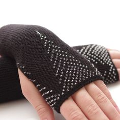 Soft and warm PURE merino wool beaded fingerless gloves by evarica, $69.00