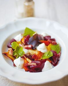 Winter Salad with a Goat's Cheese Mousse from Rachel Khoo's The Little Paris Kitchen cookbook. The perfect starter recipe for entertaining around the Christmas period. http://thehappyfoodie.co.uk/recipes/winter-salad-with-a-goats-cheese-mousse