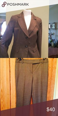 Ann Taylor suit size 6P Classy 2 piece suit or wear separately. Like new; worn once and dry cleaned. Color is brown/black; 98% lightweight wool & 2% spandex. Ann Taylor Other